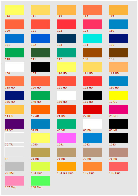 Tabella colori inchiostri per tampografia for Tabella per mescolare i colori